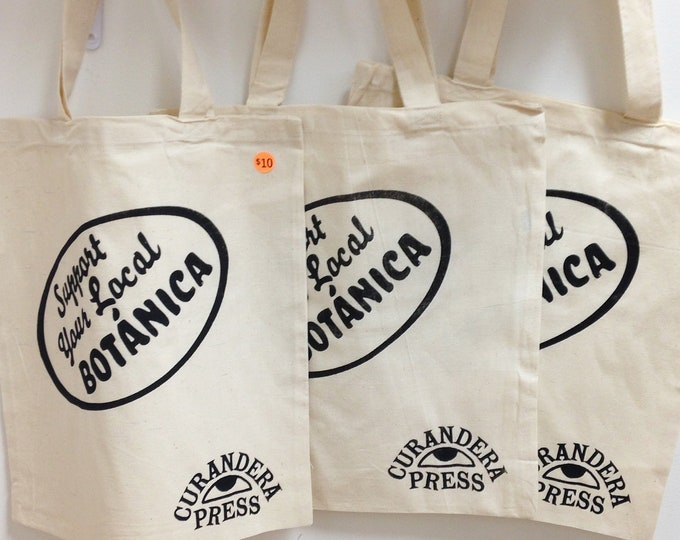 Support Your Local Botanica natural tote bag