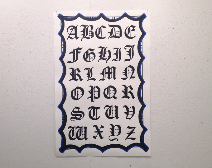 Old English Alphabet screen print
