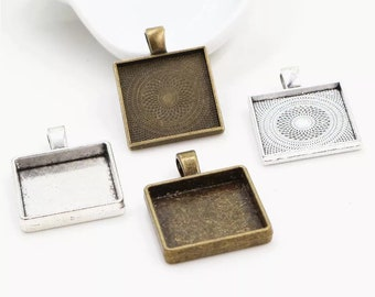 ,SLV-307 24x24mm Brass Square Square Charms Necklace Findings Frame Pendant Square Necklace Silver Plated Blank Square Pendant 6Pcs,