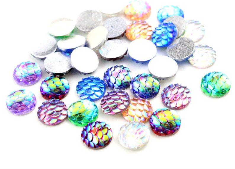 10mm Fish Scale Mermaid Resin CabochonsMixed Paired Colours8pcs