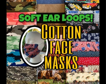 Reusable face mask! With filter pocket & removable nose wire. Hunting, fishing, camouflage, tractors, horses. Adult and kid sizes available