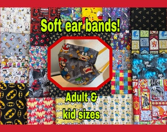 Face masks with removable nose wire & filter pocket! Reusable and washable with soft nylon ear loops. Adult and kid sizes available.