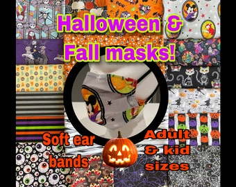 Halloween/fall masks! Cotton 2 layer reusable & washable. With filter pocket and removable nose wire. Adult and kid sizes.