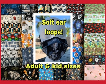 Star Wars inspired masks. Reusable face mask! With filter pocket & removable nose wire. Soft ear bands. Adult and kid sizes