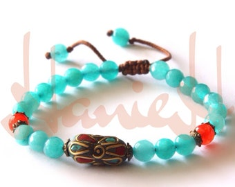 handmade bracelets for women with jade beads and Turquoise Nepalese Beads Tibetan beads. (Brass, Turquoise and Coral)