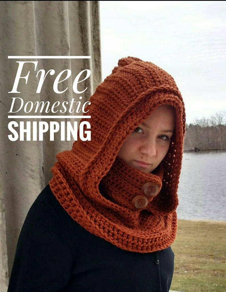 Hooded Cowl, Gray Hooded Scarf, Oversized Knit Snood, Crochet Infinity  Scarf , Christmas Gift, Vegan Knit Wear, Gift For Her