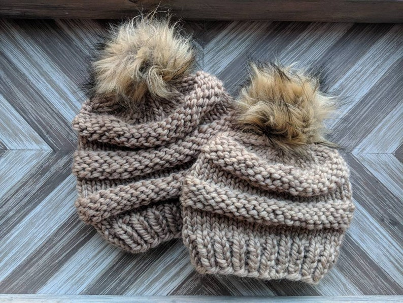 6e96d58a08f105 Mommy and Me Faux Fur Pom Pom Knit Hat Set Child Pom Pom | Etsy