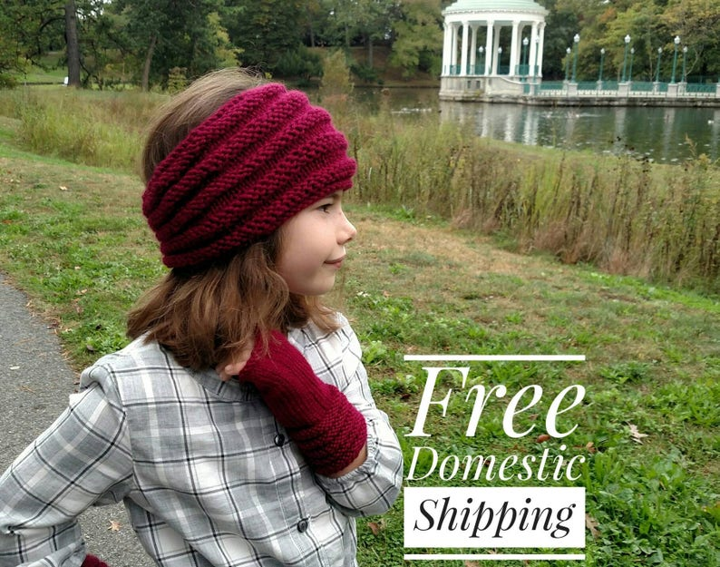 Wide Knit Set Ear Warmer Headband And Fingerless Gloves Ribbed Knit Fingerless Gloves Soft Winter Headband with Matching Gloves Mittens