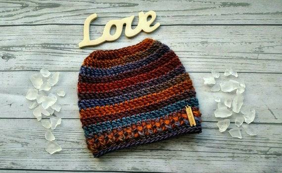 Knit Messy bun hat Striped Bun Beanie Colorful Ponytail Hat  43fe45aa7ae