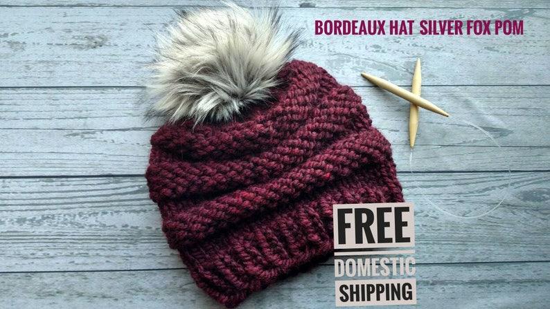 dee8812d5a8cd Faux Fur Pom Pom Knit Hat Women s Pom Pom Hat Ladies