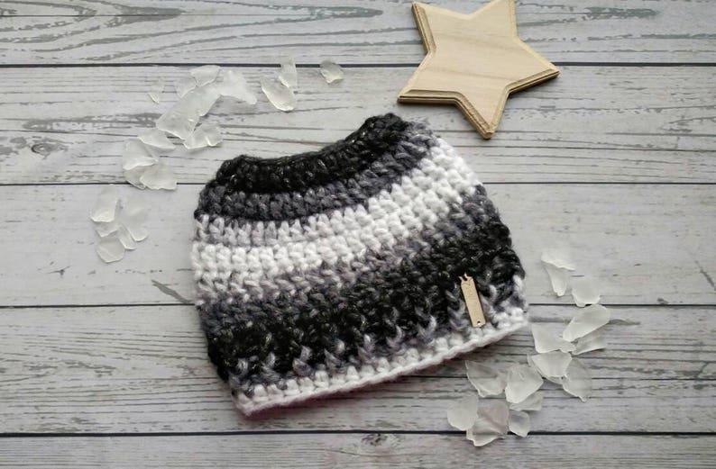 76f1b3f403766 Messy Bun Hat Black and White Bun Hat Grey Messy Bun Beanie