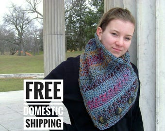 Chunky Button Cowl, Blue Triangle Scarf, Colorful Scarf, Multicolored Stylish Cowl, Statement Knit Scarf, Crochet Cowl, Crochet Collar