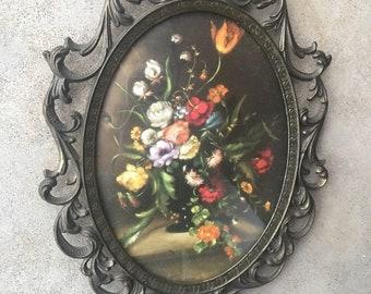 9f8694b59b8 Vintage Floral Print Brass Oval Frame Made In Italy Vintage Framed Art  Convex Glass Domed Glass Ornate Brass Hollywood Regency Boho Decor