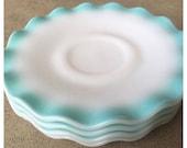 Hazel Atlas Crinoline Saucers Vintage Blue Dishes Teal Dishes Ruffled Edge Saucers 1950s