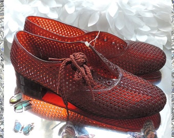 dfc91c1421f9d2 Vintage nos Amber Jelly Shoes usa 9 9.5 women oxfords