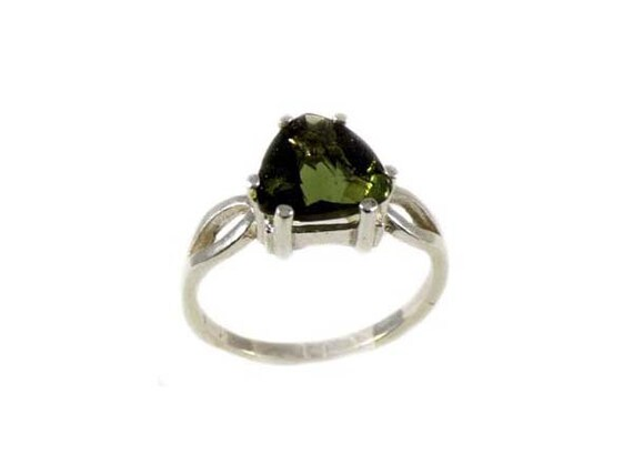 Rare Gemstone Moldavite Ring Czech Gemstone 19th C