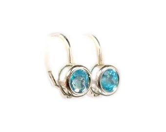 Neon Blue Apatite Earrings 19th Century Antique Gemstone Apatite Greek Goddess Pandora Box Jewelry Rare Gemstone Silver Earrings #60995