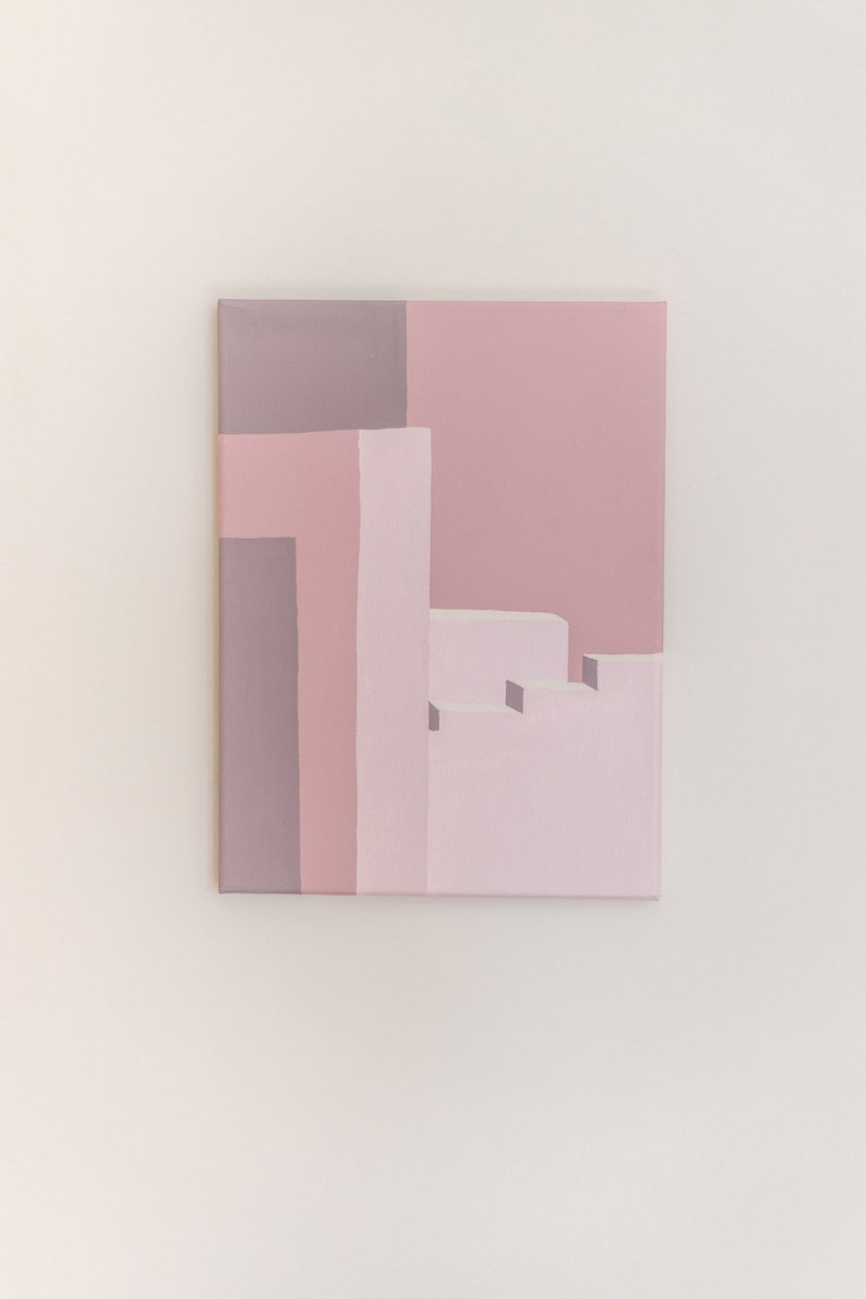 9x12 Inch Modern Architecture Acrylic Painting Geometric Color Blocking Pink Canvas