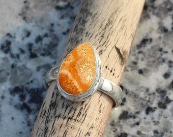 925 Sterling Silver Birthstone Ring Fossil Coral Ring Beautiful Ring Boho Ring Handmade Fossil Jewellery Natural Fossil Coral
