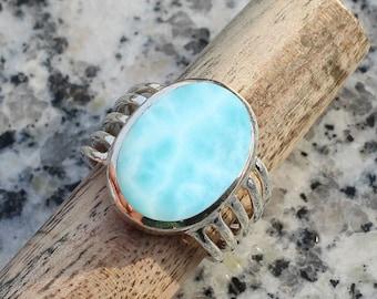 Statement Ring Boho Ring 925 Sterling Silver Christmas Gift Designer Larimar Ring Simple Band Ring Cabochon Stone Round Gemstone Ring