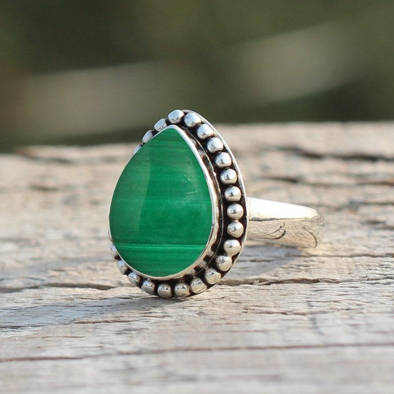 Malachite Natural Gemstone 925 Solid Sterling Silver Handmade Ring