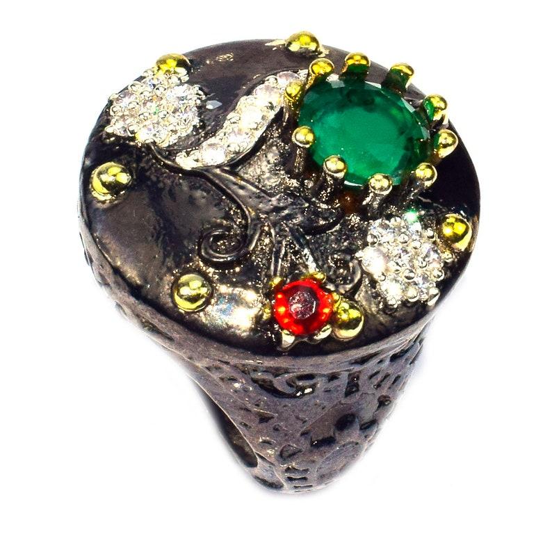 Unique 925 Sterling Silvre Black Gold Rhodium Emerald Cz Victorian Ottomen Ring Gemstone Jewelry Sz6.5