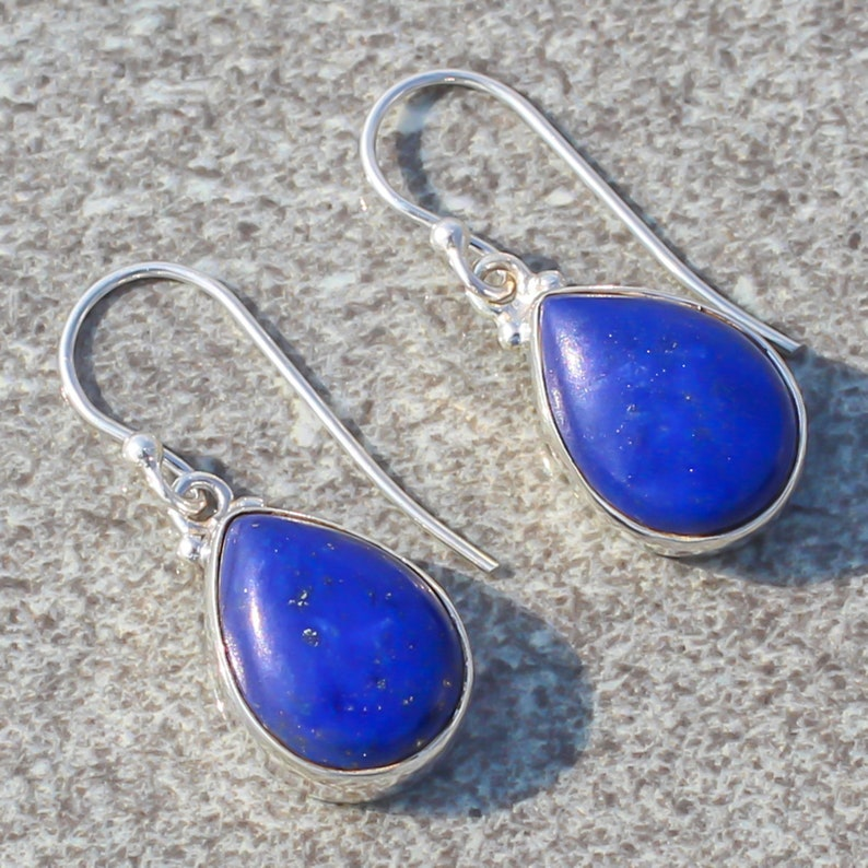 Lapis Lazuli Natural Gemstone 925 Solid Sterling Silver Handmade Earring 1.09