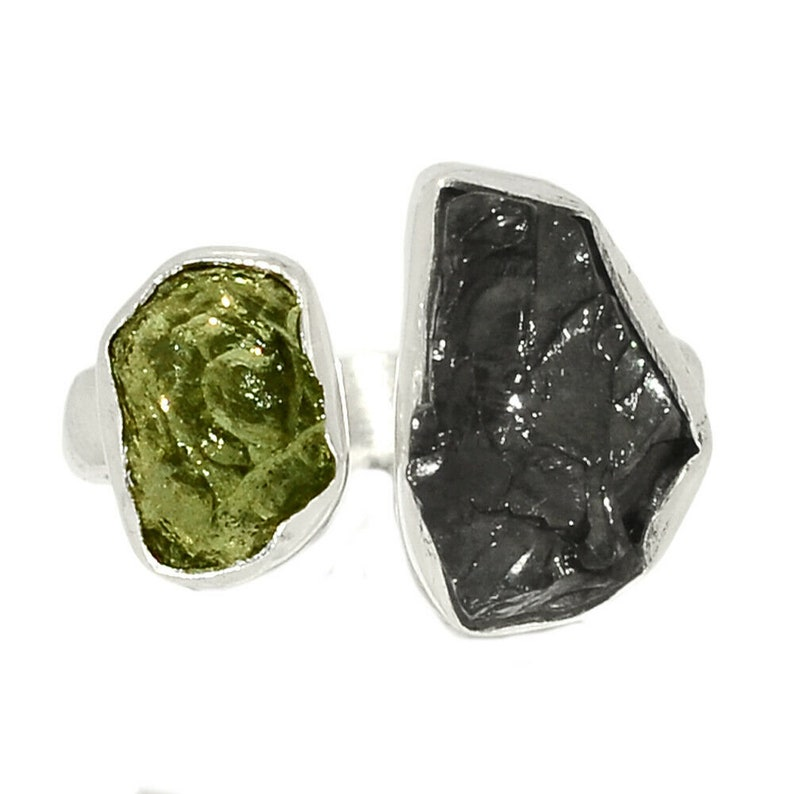 Shungite Rough Natural Gemstone 925 Solid Sterling Silver Handmade Jewelry Adjustable Ring Moldavite Rough