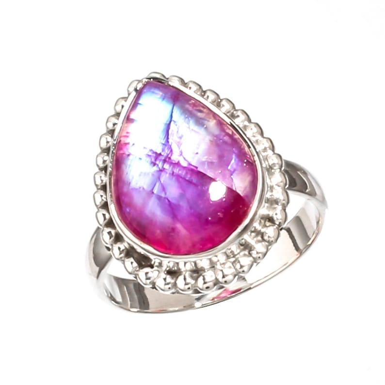 Pink Moonstone Natural Gemstone 925 Solid Sterling Silver Jewelry Handmade Ring