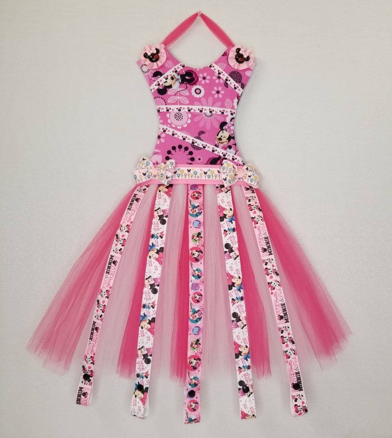 b4feb6214a9c9 Pink Minnie tutu dress hair bow and headband holder organizer, Cheer bow  holder, Hanging wall decoration, Bedroom decoration, Wall decor