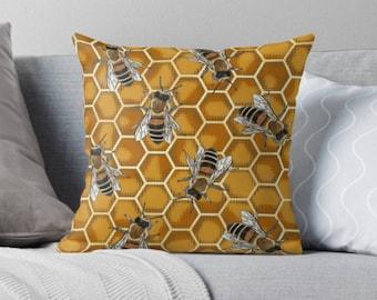 Honey Bee Cushion * Beehive Honeycomb Throw Pillow * Beekeeper * Manchester Bee Lover Gift * Honeybee Bumblebee Bees * Gold Hexagon Pattern