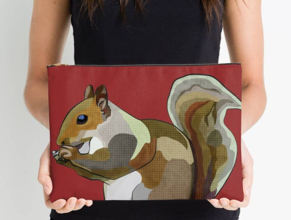 Red Squirrel Tablet Sleeve * Squirrel ipad Sleeve * Tablet Case Laptop  Cover * Valentine's Pouch * Red Kindle Sleeve * Nature Design Zipper