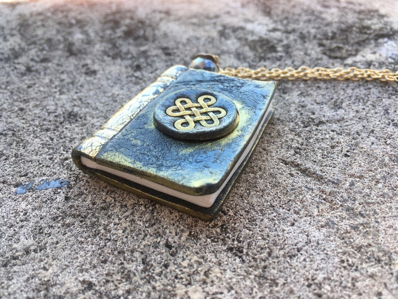 Book jewelry Miniature book Book necklace Long necklace Gift book pendant Name gift Personalized Celtic Book pendant Book charm necklace