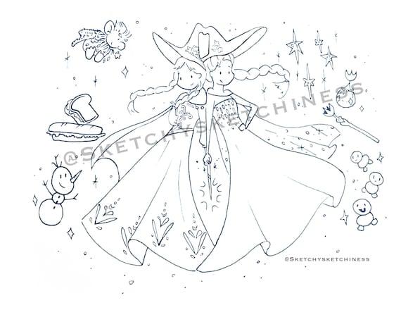 Disney Da Colorare Foglio Principessa Anna E Regina Elsa Da Etsy