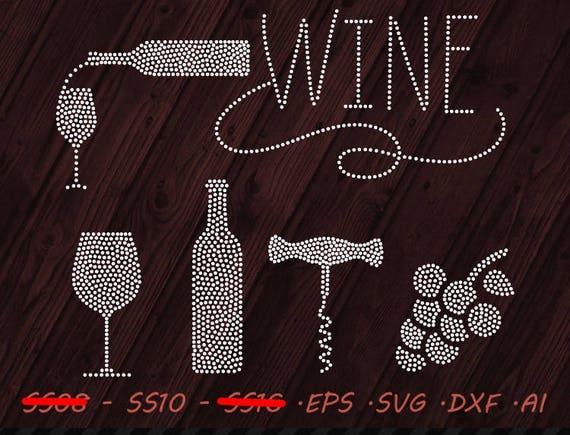 Rhinestone Design Wine Glass Svg Eps Dxf Ai Digital Template Etsy