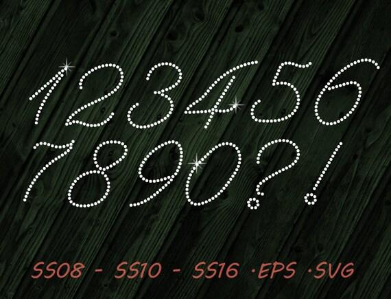 Rhinestone Numbers Calligraphic Svg Eps Digital Template Etsy