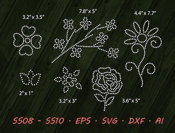 Rhinestone Floral Design Flowers Svg Eps Digital Template Etsy