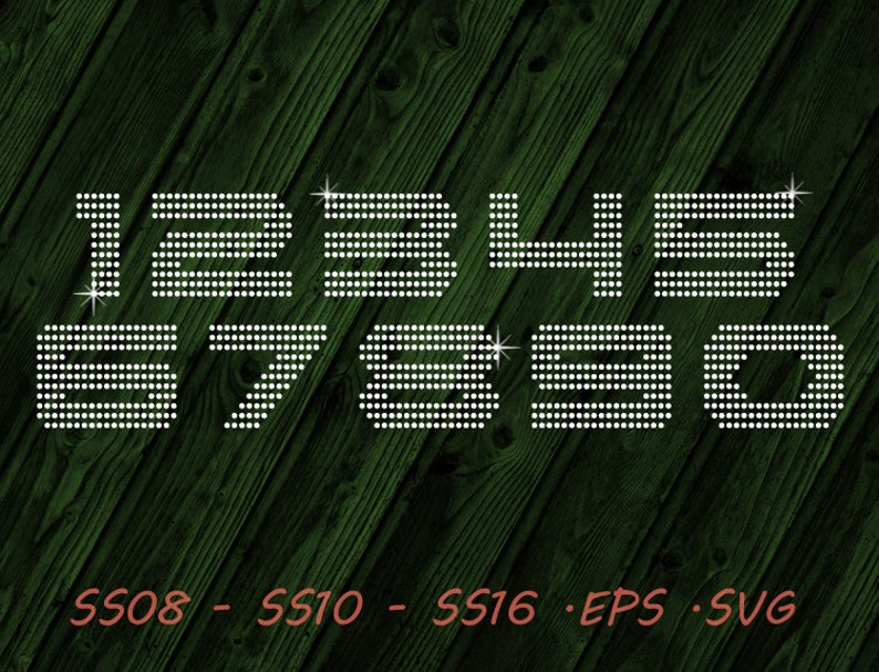 Rhinestone Numbers Jersey Svg Eps Digital Template Etsy