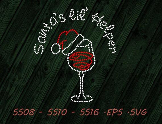 Rhinestone Christmas Wine Glass Svg Eps Digital Template Etsy