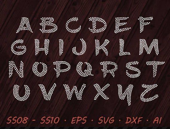 Rhinestone Brush Font Svg Eps Dxf Ai Digital Template Etsy