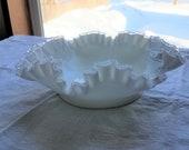 Fenton Silvercrest White Milk Glass Ruffled Edged Bowl