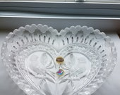 HOFBAUER Bleikristall Brydes Heart Shaped Lead Crystal Dish with Bird Design, Crystal Dishes, Vintage Lead Crystal, Collectibles