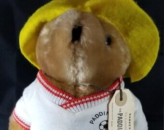 "Vintage Paddington Bear soccer Player (Yellow Hat). Darkest Peru To London. Pre-Owned 10.5"" Tall"