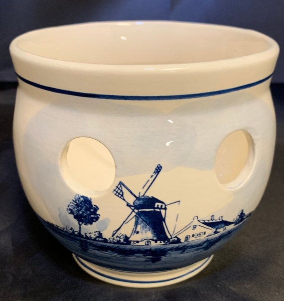 Blauw Delft Crocus Bowl Planter Made in Holland Hand Painted 4
