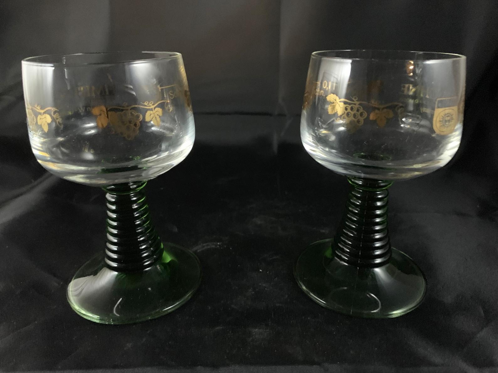West German Schmitt Sohne Roemer Rhine Wine (2) Glasses Set 4.5