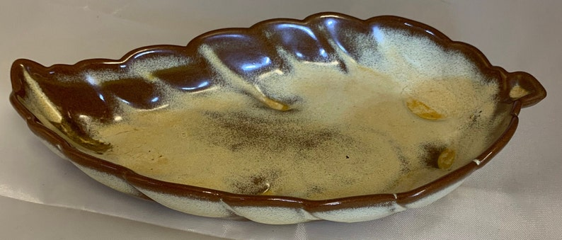 Stamped on Back Frankoma Pottery Leaf Dish #225 Promo With Colony Furniture House York P A