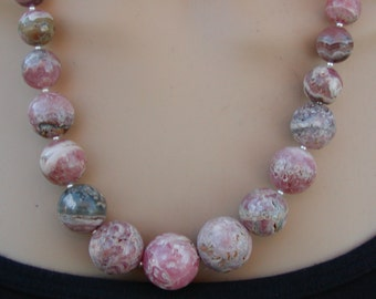 Pink and Grey Rhodochrosite Sterling Necklace