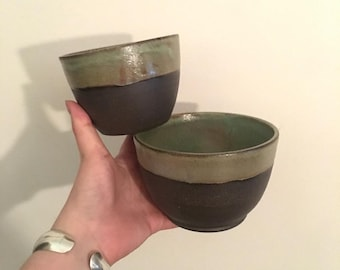 Set of 2 nesting bowls- handmade ceramic- raw black clay exterior- aged copper interior- fully functional stackable kitchen set