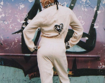 Upcycled cheeky hearts jumpsuit- size 10