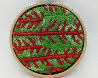 Red veined sorrel hoop- Hand embroidered 3D textured hoop